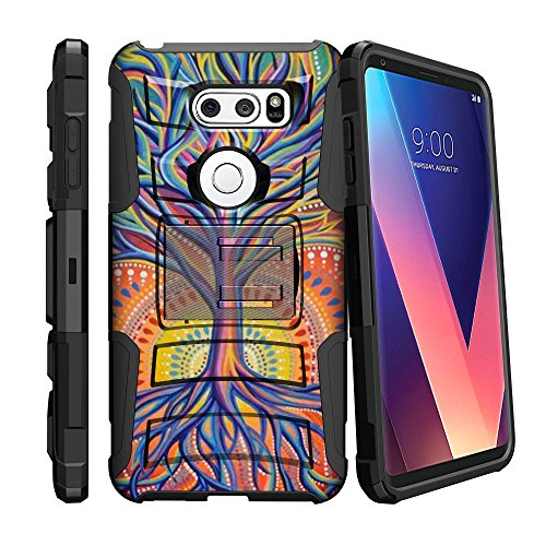 MINITURTLE Case Compatible w/ LG V30 | V30 Plus ScratchResistant Case [Clip Armor for LG V30 | V30 Plus] HardImpact Rugged Swivel Holster Case for LG V30 | V30 Plus w/ Stand Feature Colorful Tree by MINITURTLE