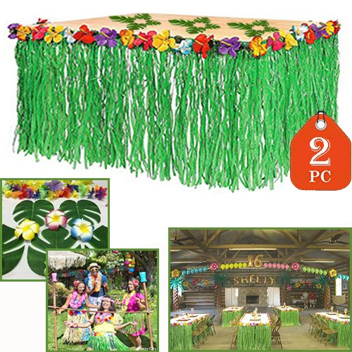 Adorox 2 Table Skirt Hawaiian Luau Hibiscus Green Table Skir