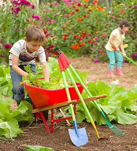 Wheelbarrow Red Wheel (Kid's Garden Wheelbarrow - Yard Tools for Children - Red with Wood Handles, Steel Braces, Solid Tire - 33 L x 17 W x 15.75 H)
