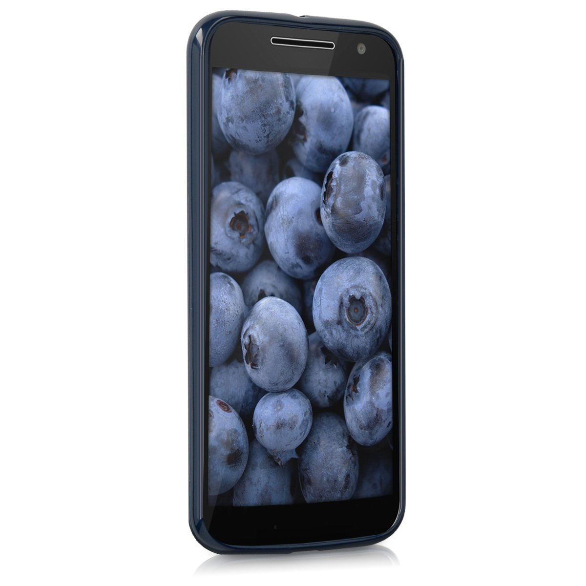 kwmobile TPU Silicone Case for Motorola Moto G4 / Moto G4 Plus - Soft Flexible Shock Absorbent Protective Phone Cover - Dark Blue Matte