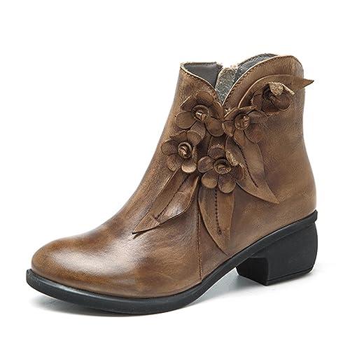 Socofy Damen Kurzschaft Stiefel, Leder Stiefeletten mit Absatz Klassische Ankle Boots Blume Winter Kurz Stiefel Schuhe Handmade Chukka Lederschuhe