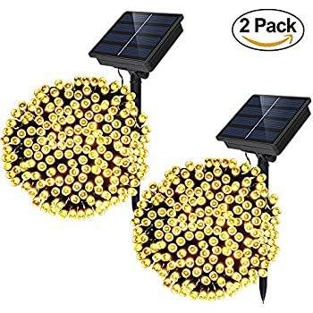 Solar Powered String Lights - Dolucky 72 ft 200 LED Solar Fairy Lights, Waterproof Christmas String Lights for Outdoor Garden Party Wedding Decoration (Warm White, 2 Pack)