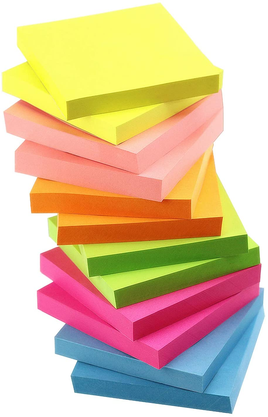 Quality Improved Early Buy 6 Bright Color Self-Stick Notes Sticky Notes 12 Pads//Pack 100 Sheets//Pad Sticky Notes 3 X 3 Inches Box Packing