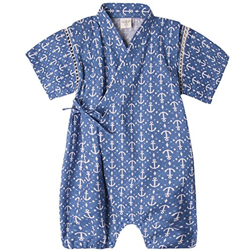 Unisex Baby Organic Cotton Kimono Comfy Loose Printed Pajamas Rompers Anchor 70