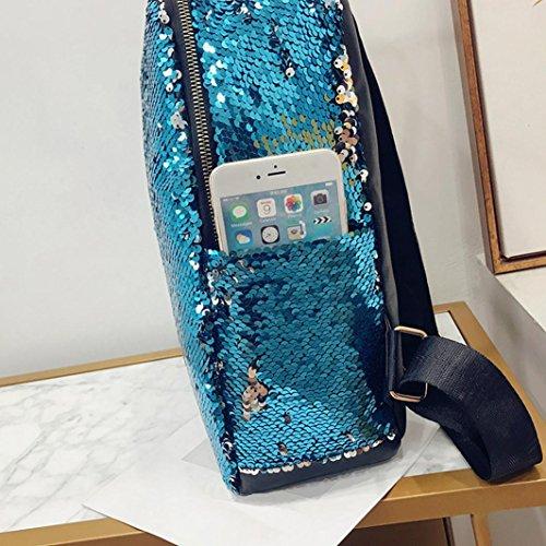 Femme dos sac sac Casual à voyage sac Mode à de bandoulière Femme Bleu femmes sacoche JIANGfu Cabas main Paillettes mode cartable messager étudiant Sac à Sac Main à 6axSq7YwC