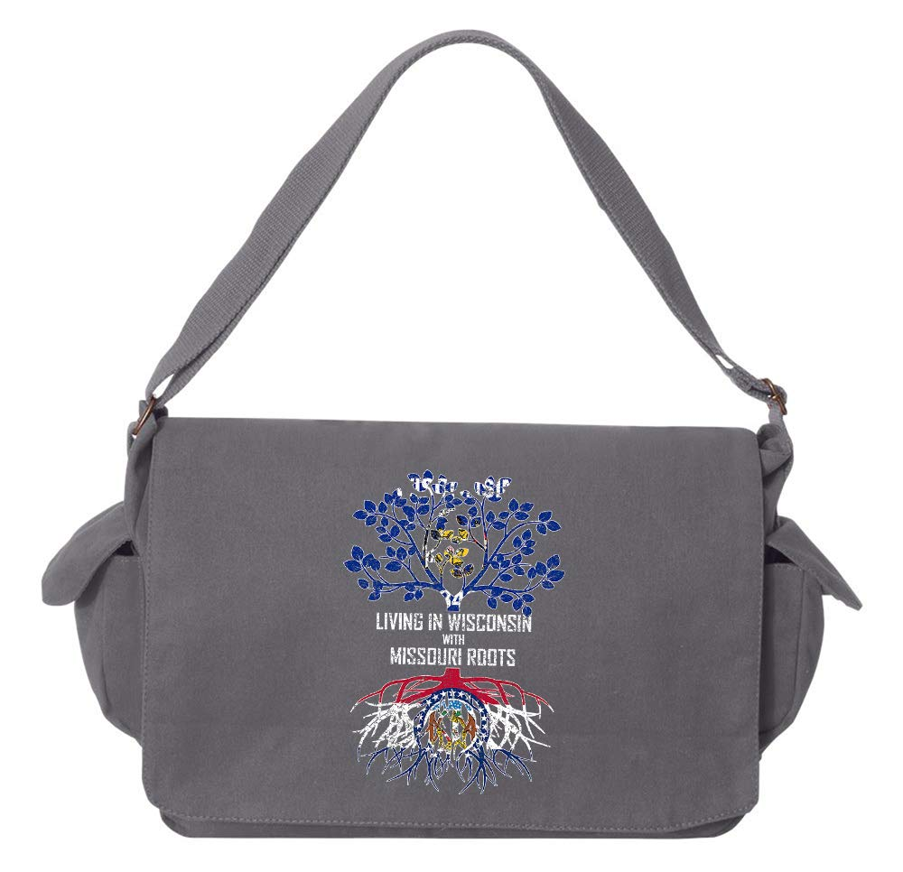 Tenacitee Living In Wisconsin with Missouri Roots Grey Brushed Canvas Messenger Bag