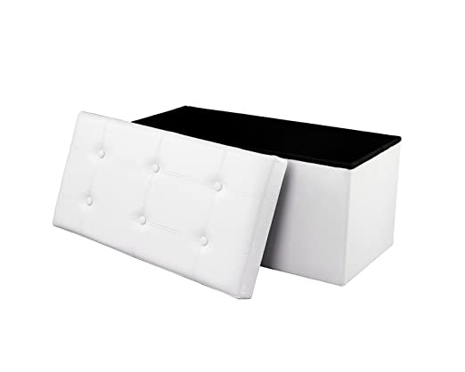 Baúl Puff Taburete para almacenaje 76 x 38 x 38 cm Plegable Carga máxima de 300 kg Caja de almacenaje para almacenaje (plegable, 76 x 38 x 38 cm) ...