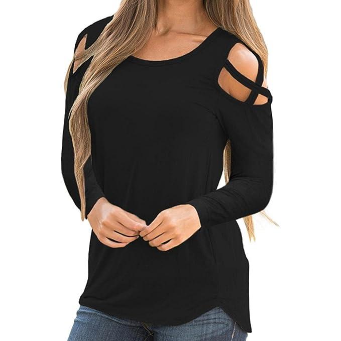 Longra ✓Camiseta de tirantes de manga larga para mujer, con cuello en V, blusas, ropa de diario Sexy Lady Tops: Amazon.es: Alimentación y bebidas