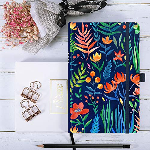 2020 Planner - Weekly & Monthly Planner with Tabs, 5.25 x 8.25, Hardcover with Pen Holder + Thick Paper, Back Pocket with Gift Box - Navy Floral