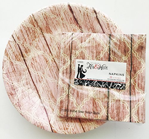 Pink-Wood-Plank-Dinner-105-inch-Paper-Plates-Napkin-Bundle-Showers-Wedding-Party-Anniversary-Office
