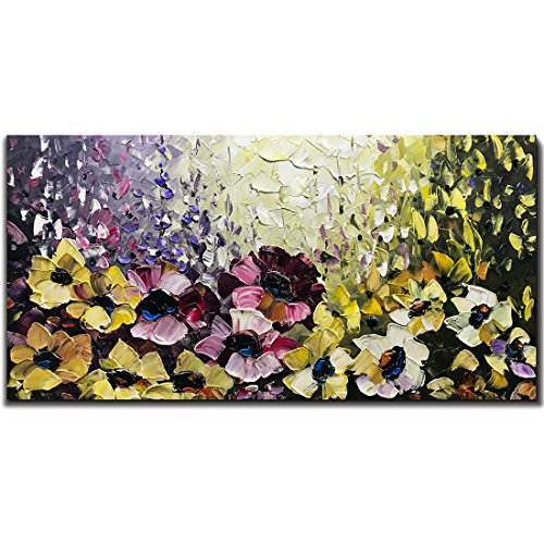 - Yotree Paintings, 24x48 Inch Paintings Colorful Flowers Oil Hand Painting Painting 3D Hand-Painted On Canvas Abstract Artwork Art Wood Inside Framed Hanging Wall Decoration Abstract Painting