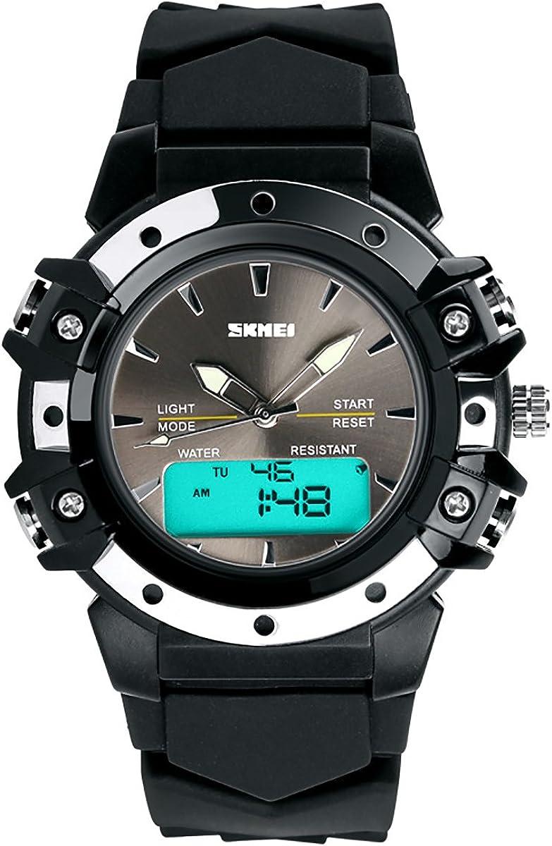 Lancardo Reloj Deportivo Impermeable de 5ATM Multifunción de Dual Tiempo Pulsera Digital de Moda con Retroiluminación para Deportes Exteriores para Chico Chica Unisex