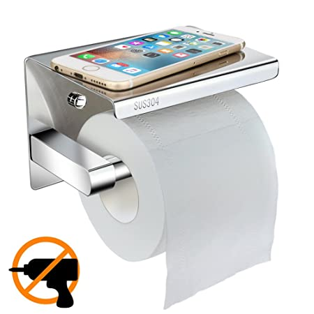 Toilet Roll Holder Wall Mounted, Telgoner No Drilling Toilet Paper Holder  Self Adhesive Bathroom Paper
