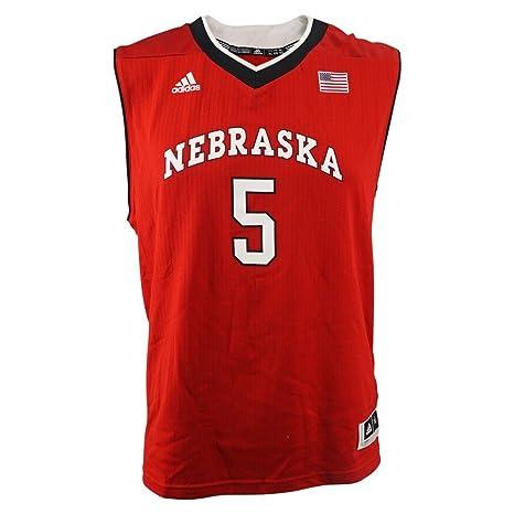 ba25623846de adidas Nebraska Cornhuskers NCAA Red Official Road Away Replica  5 Basketball  Jersey for Youth (