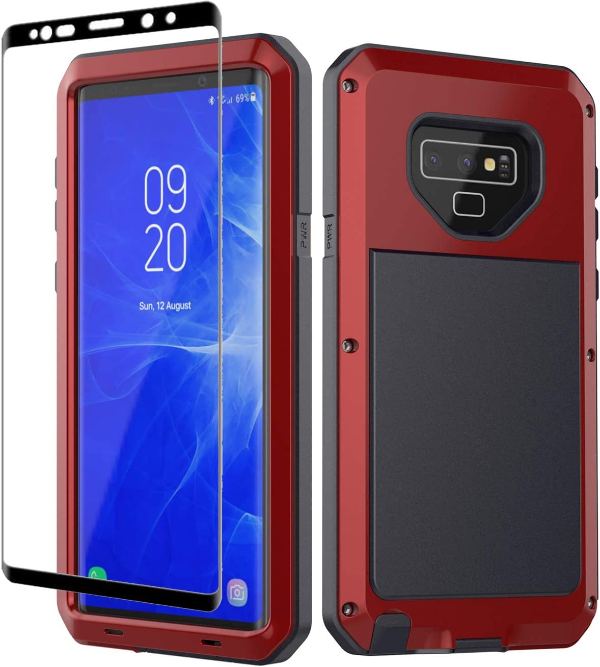 Galaxy Note 9 Case, Note 9 Heavy Duty Shockproof Hybrid Metal and Silicone High Impact Rugged Case and Tempered Glass Screen Protector [Full Screen Coverage] for Samsung Galaxy Note 9 (Red)