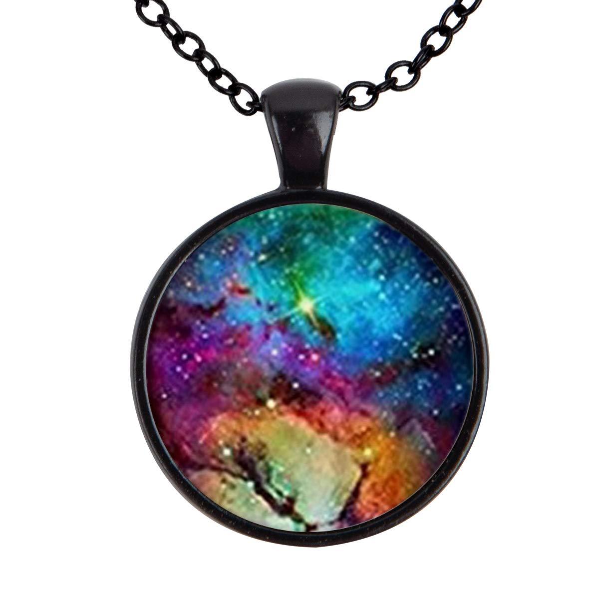 Lightrain Star Universe Starry Pendant Necklace Vintage Bronze Chain Statement Necklace Handmade Jewelry Gifts