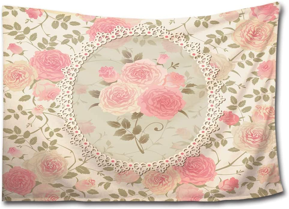HMWR Pink Rose Floral Tapestry Wall Hanging Elephant Shabby Chic Flower Boho Wall Decor for Kids Girls Room Dorm Light-Weight Polyester Picnic Bedsheet Blanket Wall Art Hippie Tapestries 60x40 Inch