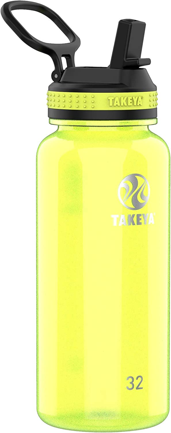 Takeya Tritan Sports Water Bottle with Straw Lid, 32 oz, Wild Lime