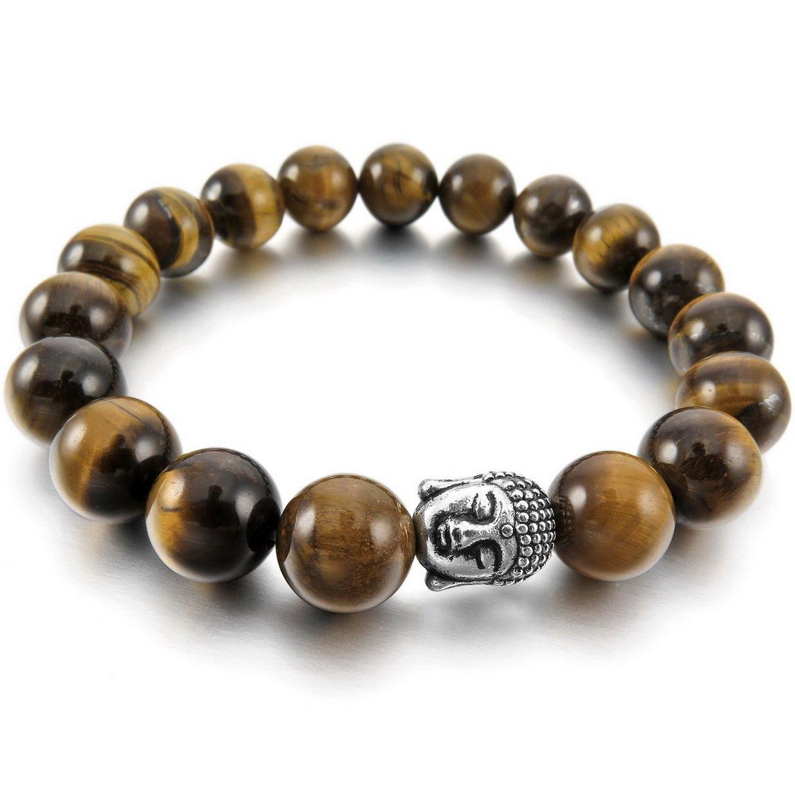 INBLUE Women,Men's 10mm Alloy Energy Bracelet Link Wrist Energy Stone Brown Silver Tone Buddha Mala Bead
