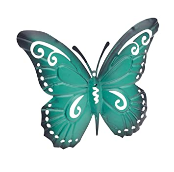 Gardman Pink Or Turquoise Metal Butterfly Wall Art Garden Decoration  (Turquoise)