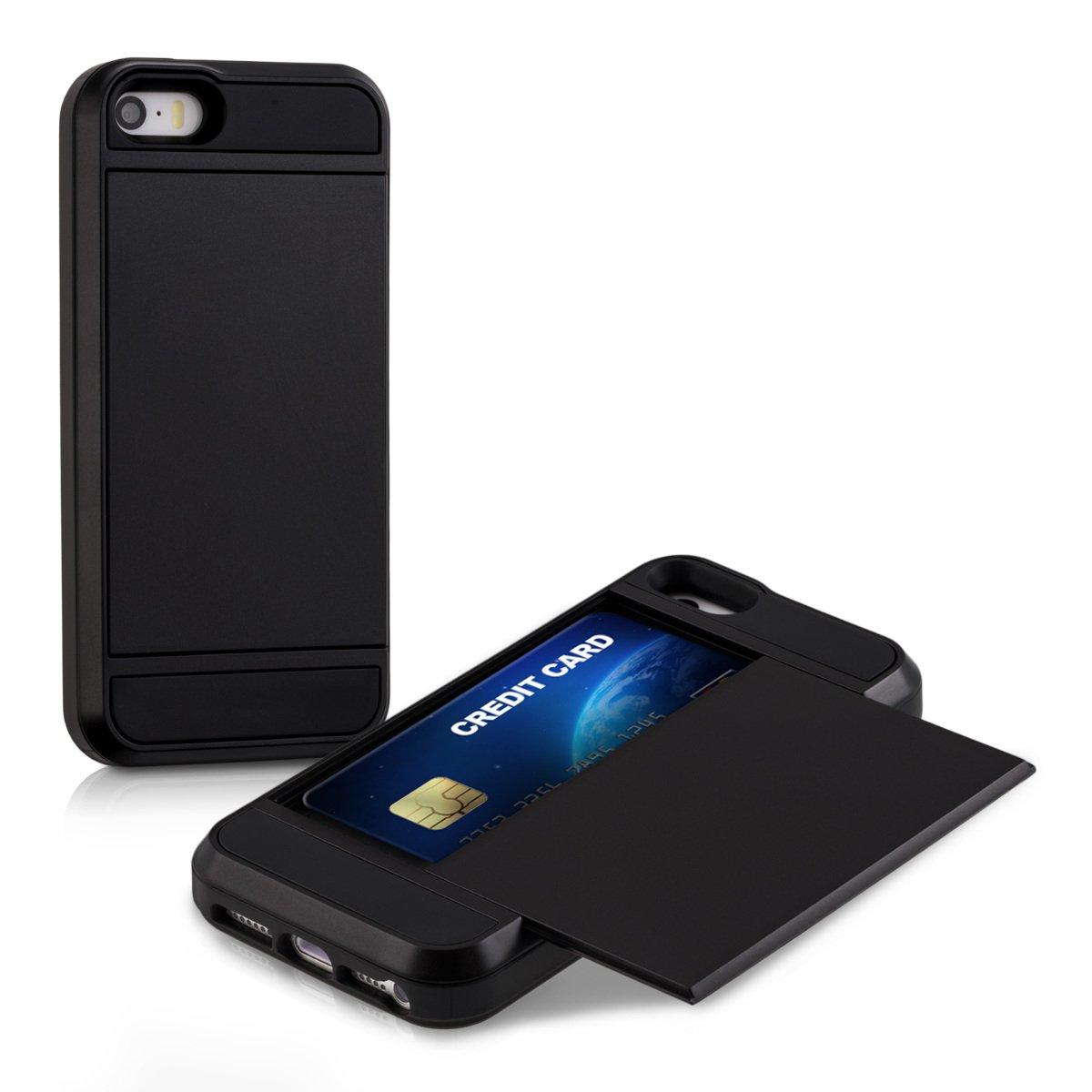 kwmobile Carcasa Dura híbrida con Ranura para Tarjetas Apple iPhone SE / 5 / 5S en Negro