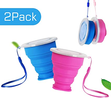Silicone Folding Travel Cup Telescopic Drinking Collapsible Portable Camping Cup