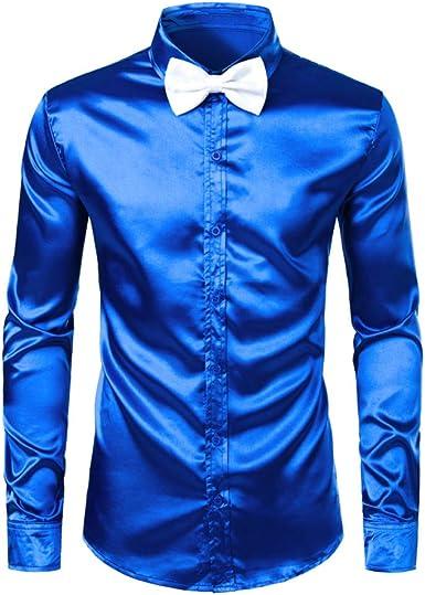 Camisas De Hombrecamisas De Vestir De Satén De Seda Azul Real ...