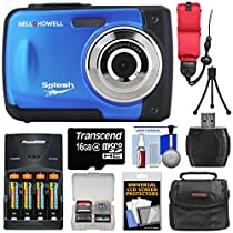Bell & Howell Splash WP10 Shock & Waterproof Digital Camera (Blue) with 16GB Card + Batteries & Charger + Case + Mini Tripod + Floating Strap + Reader + Kit