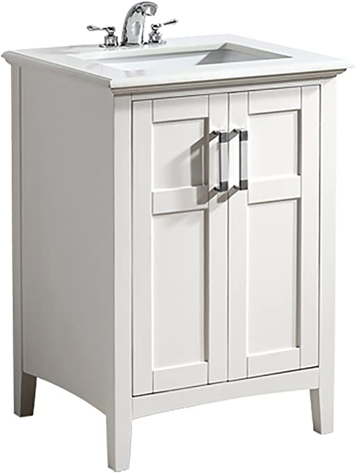 Simpli Home Nl Winston Wh 24 2a Winston 24 Inch Contemporary Bath Vanity In Soft White With Bombay White Engineered Quartz Marble Top Vanity Sinks Amazon Com