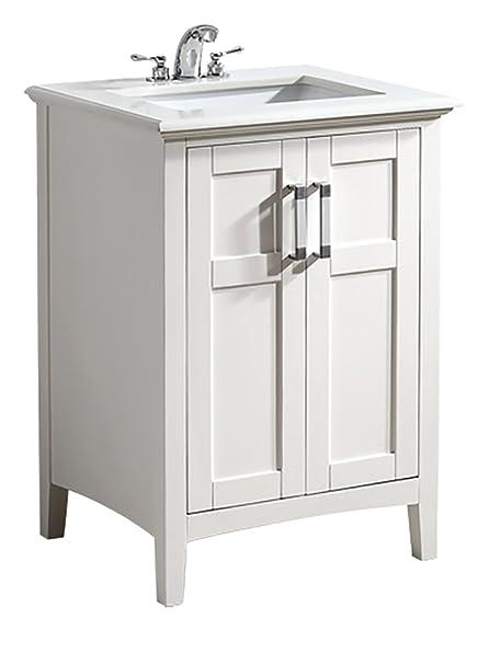 Simpli Home Winston 24 Bath Vanity With Quartz Marble Top White