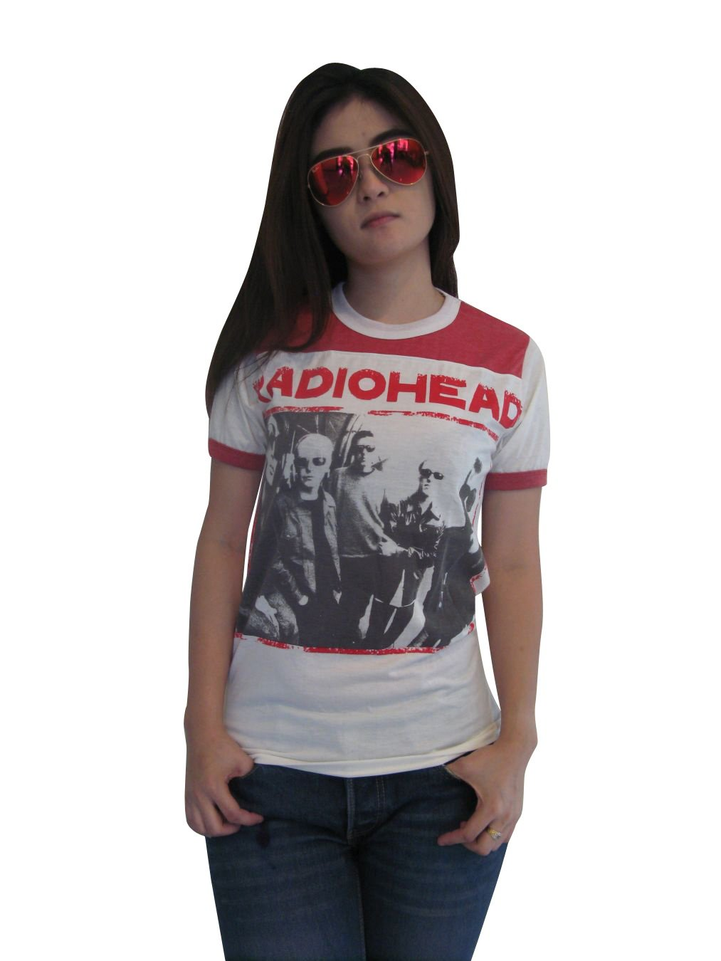 Bunny Brand Women's Thom Yorke Radiohead Ringer T-Shirt Jersey White Red New (Small)