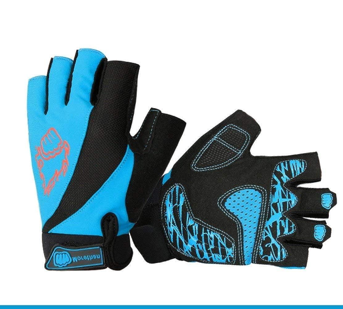 Laisla fashion Semi Fingerspitzen Fahrradhandschuhe Halb Mountainbike Handschuhe Männer Sommer Radhandschuhe Classic Halbfinger Halbhandschuh Handschuh Blau M Jungs Size : XL) None