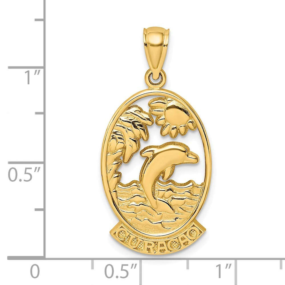 14k Yellow Gold CURACAO Dolphin /& Sunset Charm
