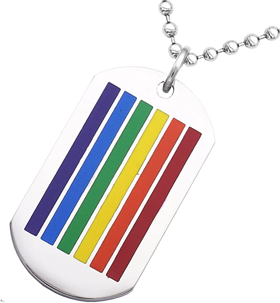 MagiDeal 2pcs Pendentif Acier Inoxydable Dog Tag Rainbow LGBT Cuir PU Bracelet Collier Set