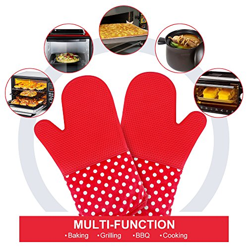 KEDSUM Heat Resistant Silicone Oven Mitts, 1 Pair of Extra Long Potholder Gloves with Bonus 1 Pair of Mini Cooking Pinch Grips, Non-Slip Cotton Lining Kitchen Glove for Baking, Barbeque, Red by KEDSUM (Image #3)