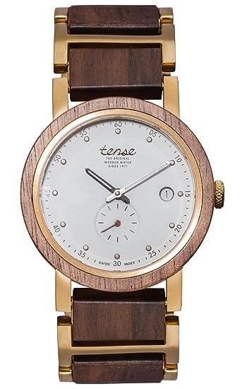 TENSE//La Madera Reloj – Hudson Hybrid Madera de nogal – Esfera Blanca –