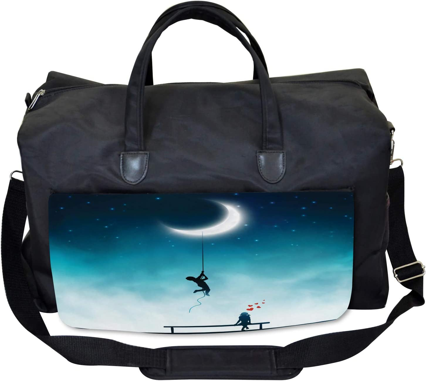 Ambesonne Teal Gym Bag Large Weekender Carry-on Boy Climbing to the Moon