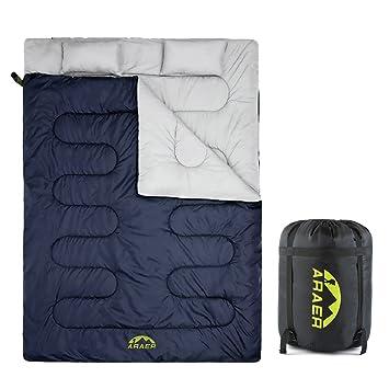 Saco de Dormir doble, ARAER Saco de Dormir Impermeable Ligero con 2 almohadas gratis 3 estaciones para Camping Senderismo Acampar y actividades al aire ...