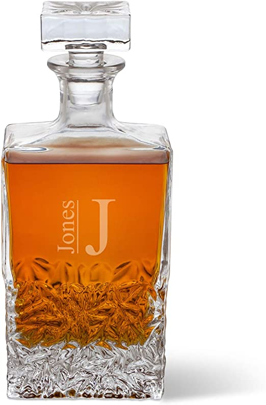 Personalized Decanter Filigree Monogram Personalized Glass Whiskey Decanter