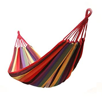 Sleeping Bag Portable Outdoor Hammock Garden Sports Home Travel Camping Swing Canvas Stripe Hang Bed Hammock 1pcs Camp Sleeping Gear Sports & Entertainment