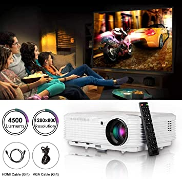 Proyector de Video HD LCD LED 4500 lúmenes 1280x800 Proyector de Juegos de películas Digitales HDMI USB TV AV VGA Audio para PC portátil Smartphone ...
