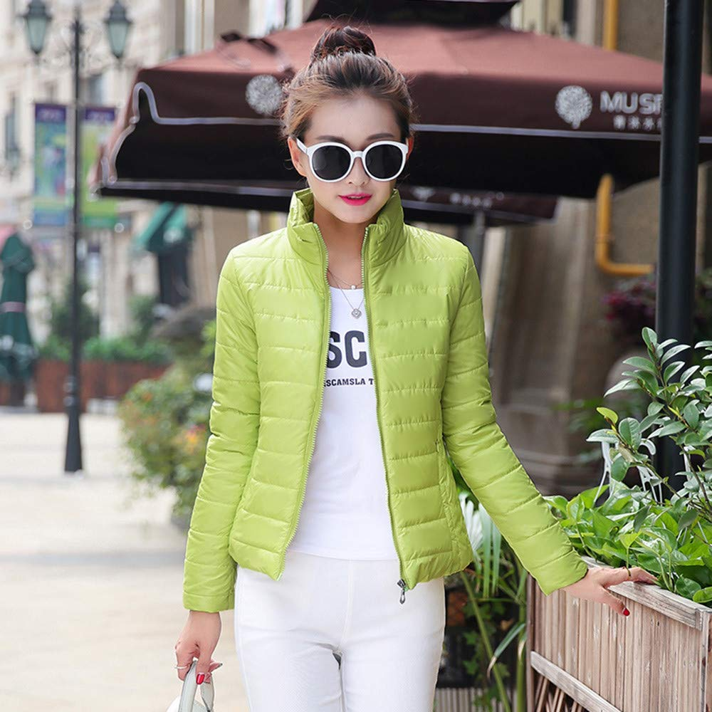 Amazon.com: AOJIAN Women Jacket Long Sleeve Outwear Stand Collar Zipper Pocket Quilted Slim Pure Color Coat Grass Green: Clothing