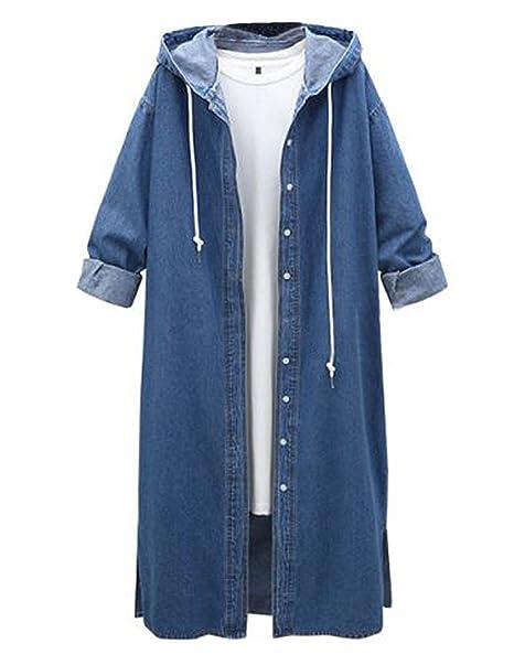 M-Queen Mujer Denim Abrigos Parka de Mezclilla Manga Larga Chaqueta Casual Vintage Encapuchado Jeans Abrigo Jacket Outwear: Amazon.es: Ropa y accesorios