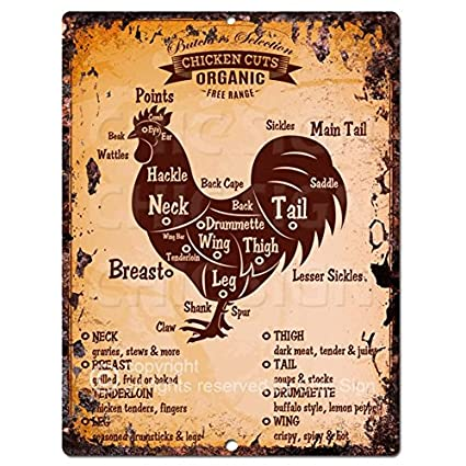 Chic Sign Chicken Meat Cuts Guide Chart Retro Rustic Vintage Kitchen Wall  Decor 9u0026quot;x12u0026quot