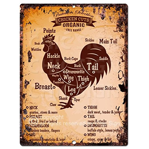Chic Sign Chicken Meat Cuts Guide Chart Retro Rustic Vintage Kitchen Wall Decor 9x12 Metal Plate Home Store Decor Plaques FPP-0011