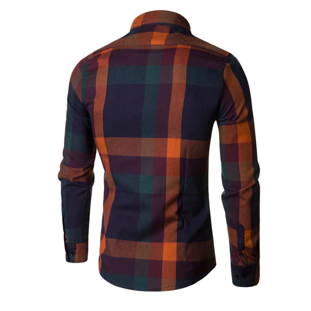 Usopu Mens Casual//Daily Slim Fit Plaid Cotton Sanded Long Sleeve Shirt