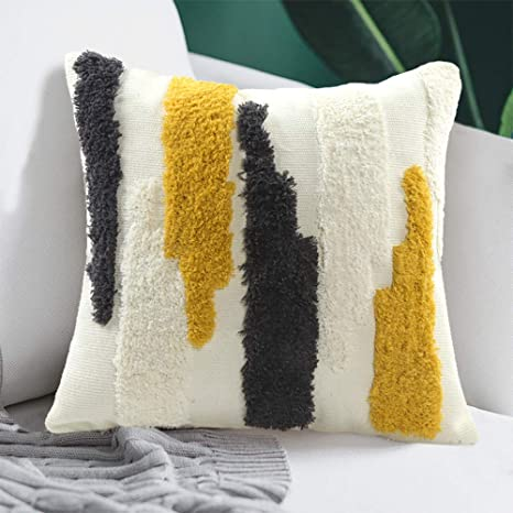 ailsan boho tufted throw pillow cover 20x20 inch farmhouse decorative pillow covers with woven colorful tufting neutral pillow cases modern cushion