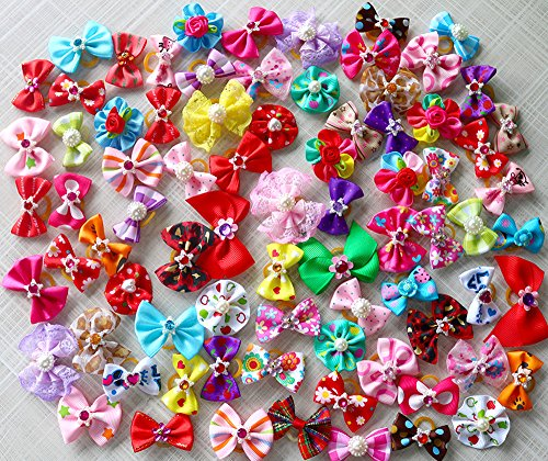 Cute Yorkie Hair Bows With Rhinestone Pearls Flowers