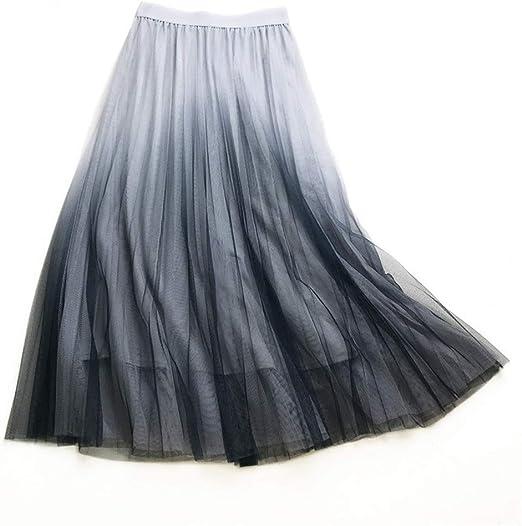 Zhongsufei-CH Mujeres Plisado de la Falda Falda de Malla de Tijera ...