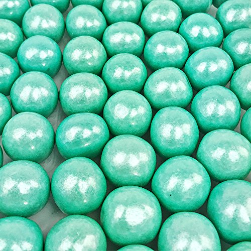 Shimmer Turquoise Gumballs - 2 Pound Bags - Large One Inch in Diameter - About 120 Gumballs Per Bag - Free How To Build a Candy Buffet Guide Included